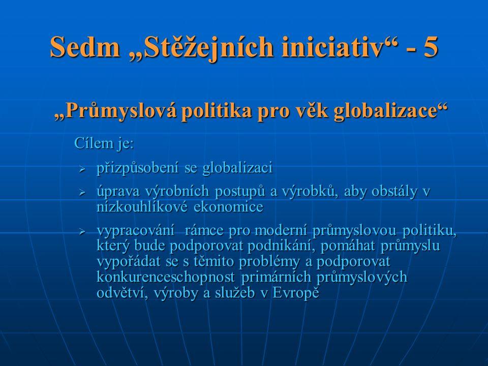 """Sedm """"Stěžejních iniciativ - 5 """"Průmyslová politika pro věk globalizace Cílem je:  přizpůsobení se globalizaci  úprava výrobních postupů a výrobků, aby obstály v nízkouhlíkové ekonomice  vypracování rámce pro moderní průmyslovou politiku, který bude podporovat podnikání, pomáhat průmyslu vypořádat se s těmito problémy a podporovat konkurenceschopnost primárních průmyslových odvětví, výroby a služeb v Evropě"""