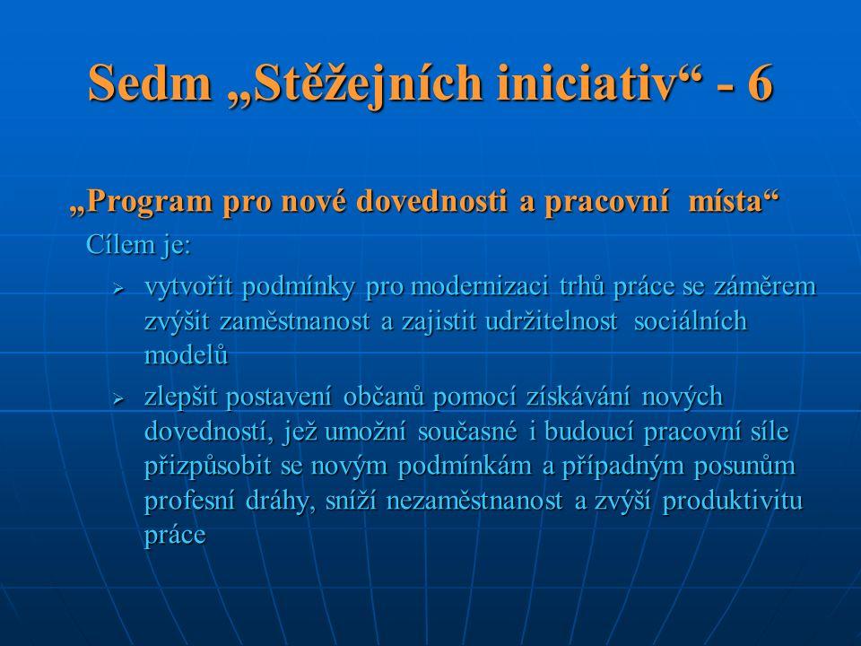 """Sedm """"Stěžejních iniciativ"""" - 6 """"Program pro nové dovednosti a pracovní místa"""" Cílem je:  vytvořit podmínky pro modernizaci trhů práce se záměrem zvý"""