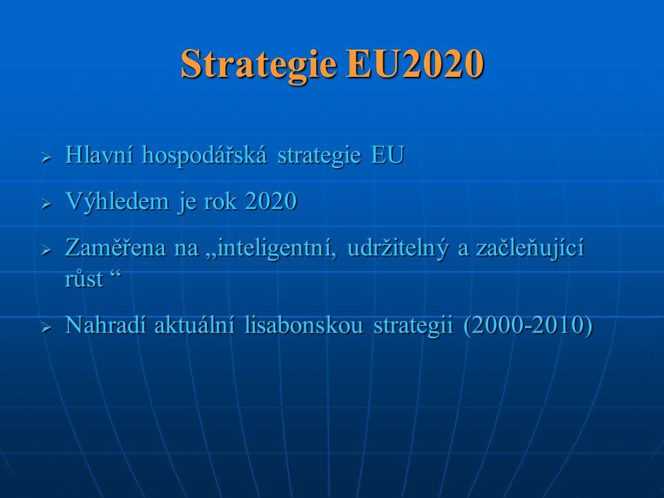 """Strategie EU2020  Hlavní hospodářská strategie EU  Výhledem je rok 2020  Zaměřena na """"inteligentní, udržitelný a začleňující růst """"  Nahradí aktuá"""