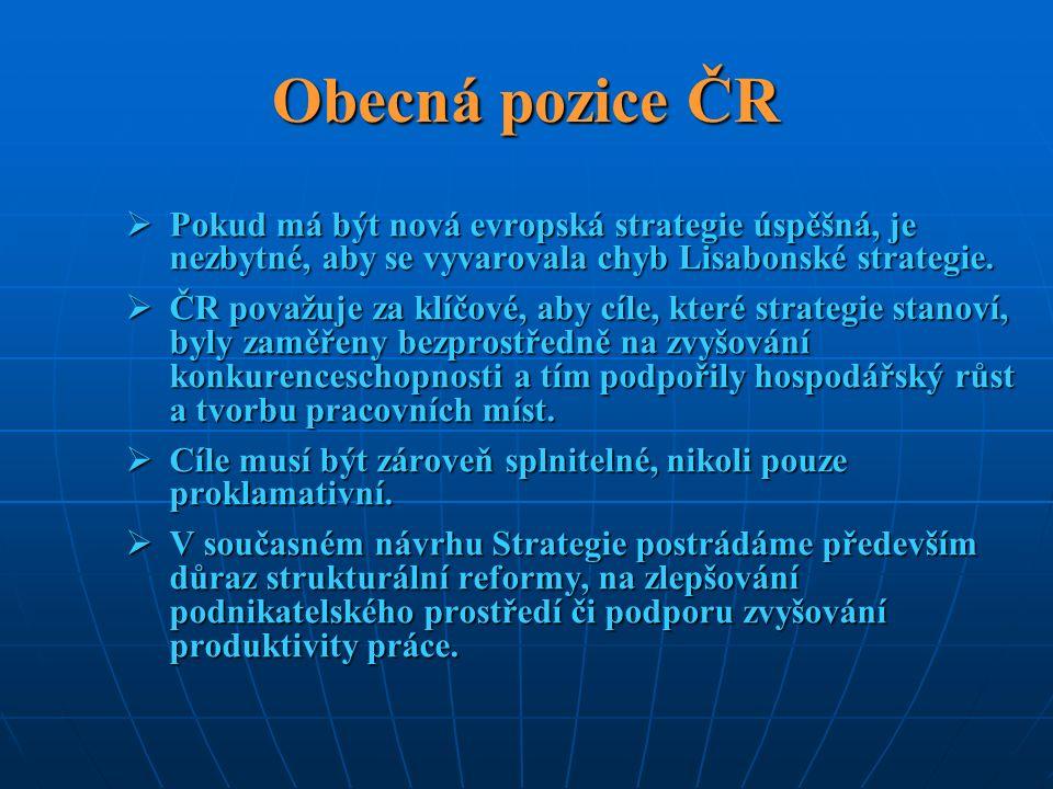 Obecná pozice ČR  Pokud má být nová evropská strategie úspěšná, je nezbytné, aby se vyvarovala chyb Lisabonské strategie.  ČR považuje za klíčové, a