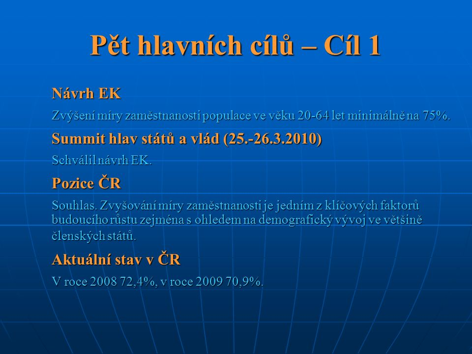 Pět hlavních cílů – Cíl 1 Návrh EK Zvýšení míry zaměstnanosti populace ve věku 20-64 let minimálně na 75%. Summit hlav států a vlád (25.-26.3.2010) Sc