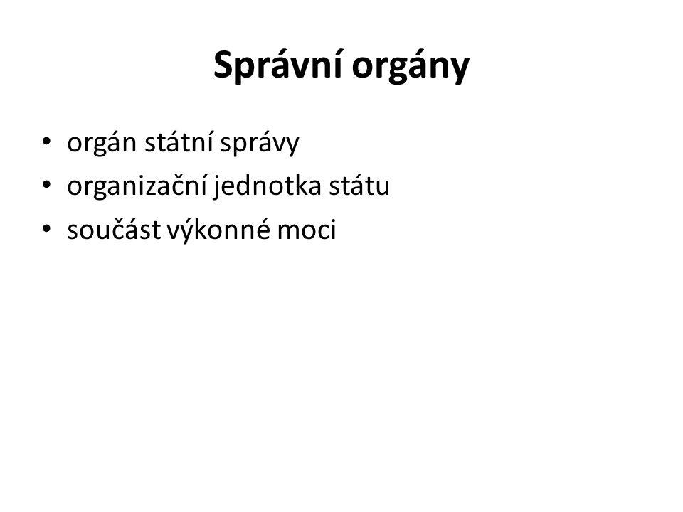 Správní orgány orgán státní správy organizační jednotka státu součást výkonné moci