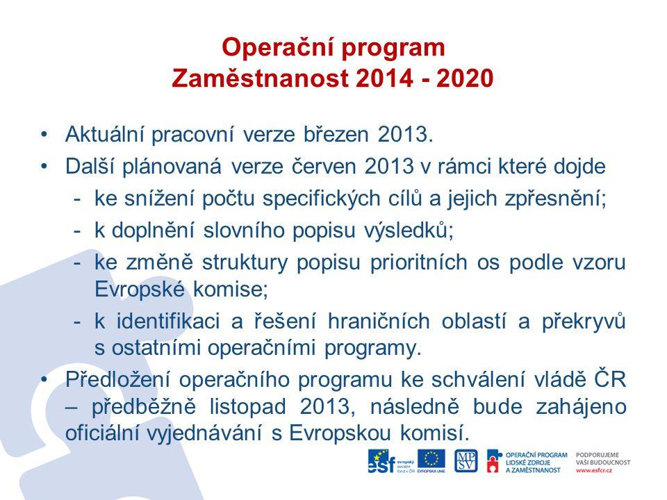Operační program Zaměstnanost 2014 - 2020 Aktuální pracovní verze březen 2013.