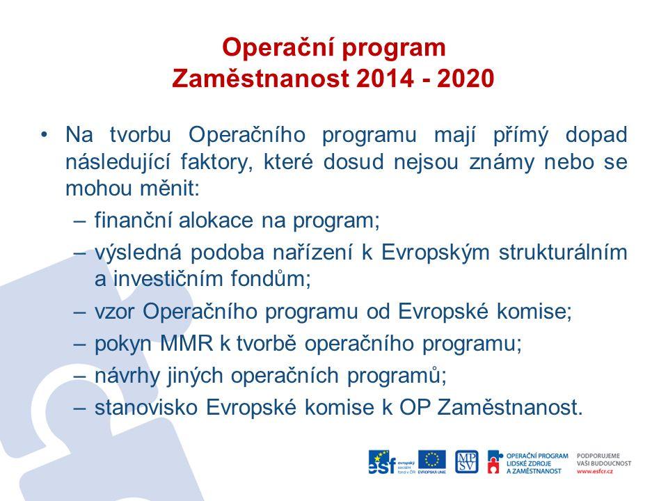 Operační program Zaměstnanost 2014 - 2020 Na tvorbu Operačního programu mají přímý dopad následující faktory, které dosud nejsou známy nebo se mohou měnit: –finanční alokace na program; –výsledná podoba nařízení k Evropským strukturálním a investičním fondům; –vzor Operačního programu od Evropské komise; –pokyn MMR k tvorbě operačního programu; –návrhy jiných operačních programů; –stanovisko Evropské komise k OP Zaměstnanost.