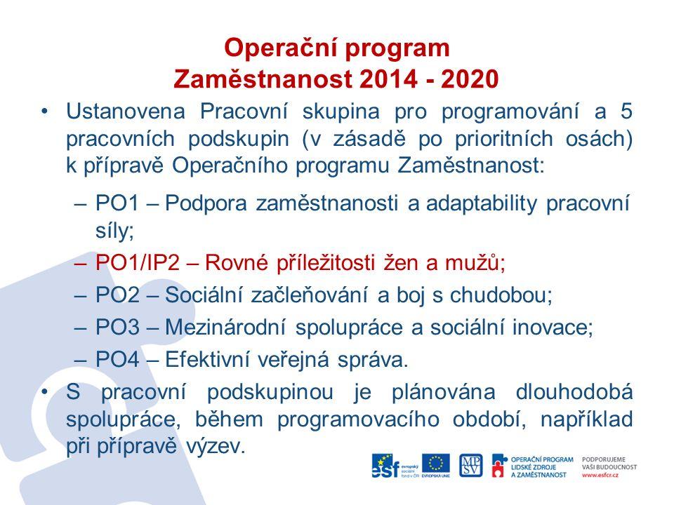 Operační program Zaměstnanost 2014 - 2020 Ustanovena Pracovní skupina pro programování a 5 pracovních podskupin (v zásadě po prioritních osách) k přípravě Operačního programu Zaměstnanost: –PO1 – Podpora zaměstnanosti a adaptability pracovní síly; –PO1/IP2 – Rovné příležitosti žen a mužů; –PO2 – Sociální začleňování a boj s chudobou; –PO3 – Mezinárodní spolupráce a sociální inovace; –PO4 – Efektivní veřejná správa.