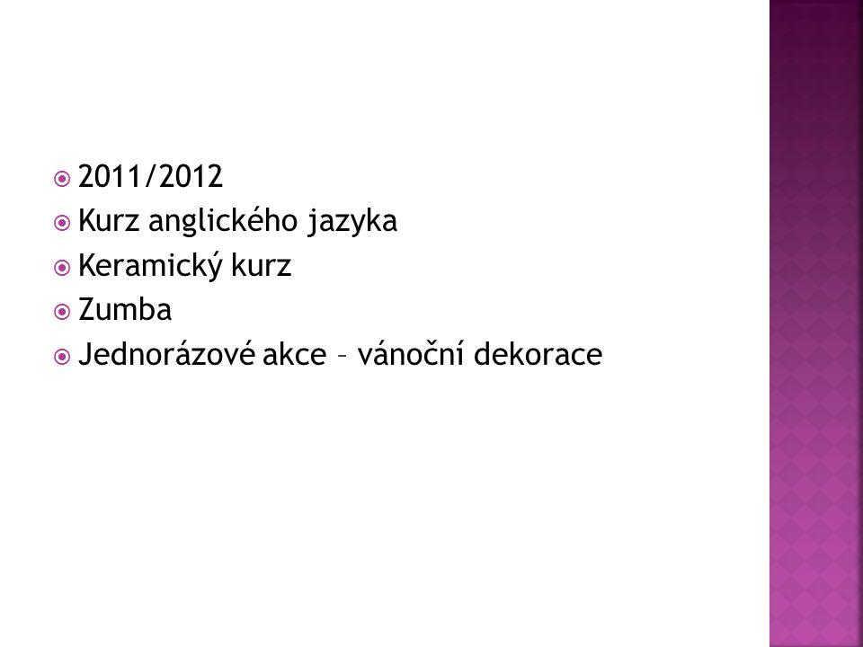  2011/2012  Kurz anglického jazyka  Keramický kurz  Zumba  Jednorázové akce – vánoční dekorace