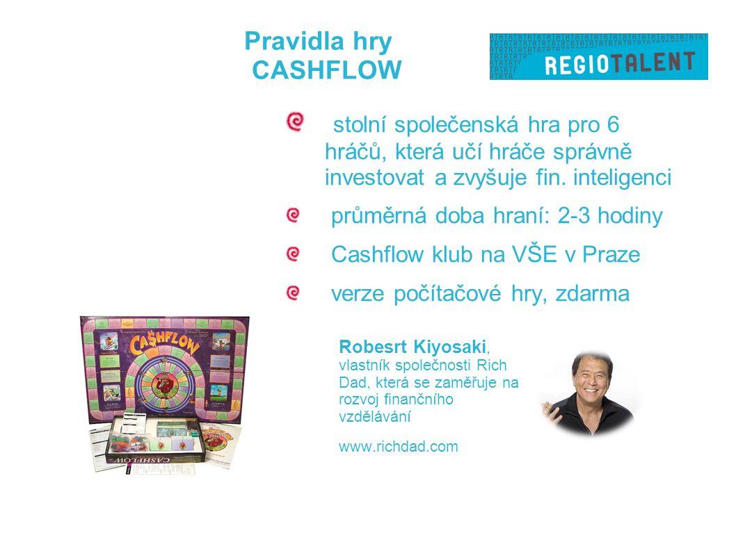 Pravidla hry CASHFLOW Robesrt Kiyosaki, vlastník společnosti Rich Dad, která se zaměřuje na rozvoj finančního vzdělávání www.richdad.com stolní společenská hra pro 6 hráčů, která učí hráče správně investovat a zvyšuje fin.