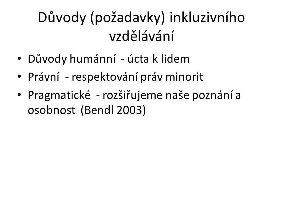 Důvody (požadavky) inkluzivního vzdělávání Důvody humánní - úcta k lidem Právní - respektování práv minorit Pragmatické - rozšiřujeme naše poznání a osobnost (Bendl 2003)