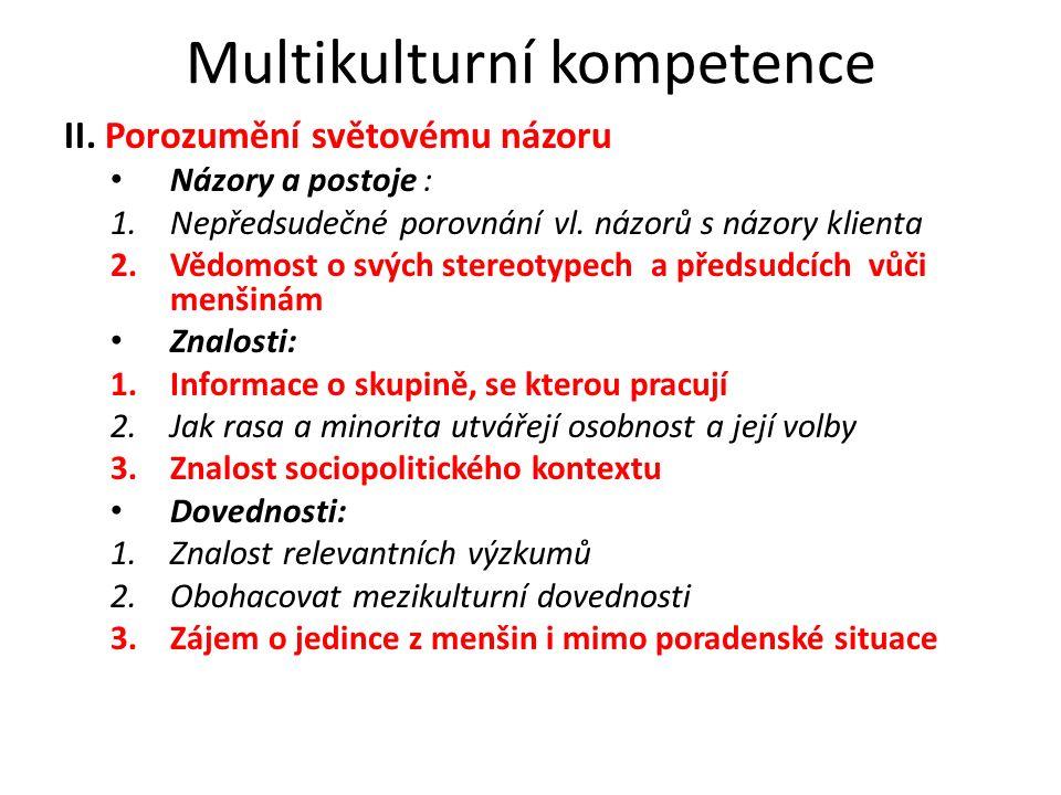 Multikulturní kompetence II. Porozumění světovému názoru Názory a postoje : 1.Nepředsudečné porovnání vl. názorů s názory klienta 2.Vědomost o svých s