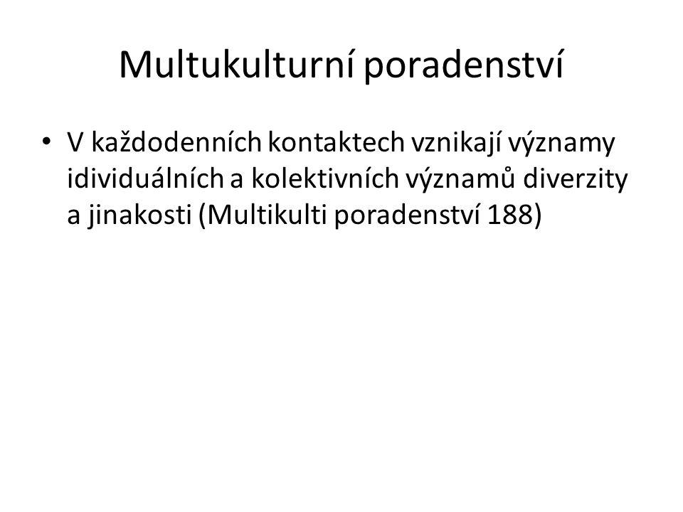 Multukulturní poradenství V každodenních kontaktech vznikají významy idividuálních a kolektivních významů diverzity a jinakosti (Multikulti poradenství 188)