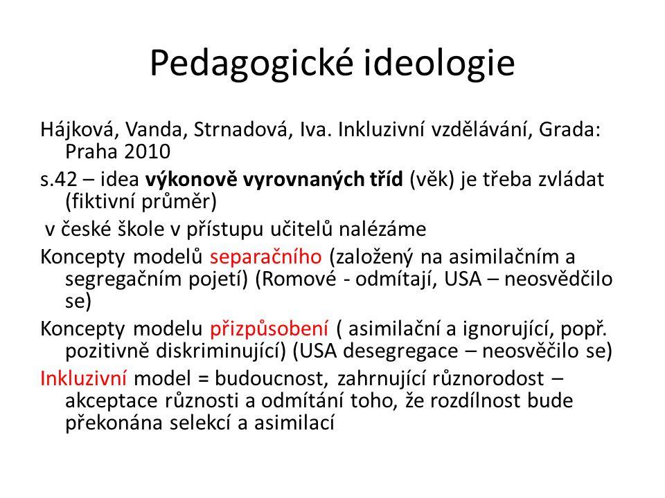 Pedagogické ideologie Hájková, Vanda, Strnadová, Iva. Inkluzivní vzdělávání, Grada: Praha 2010 s.42 – idea výkonově vyrovnaných tříd (věk) je třeba zv