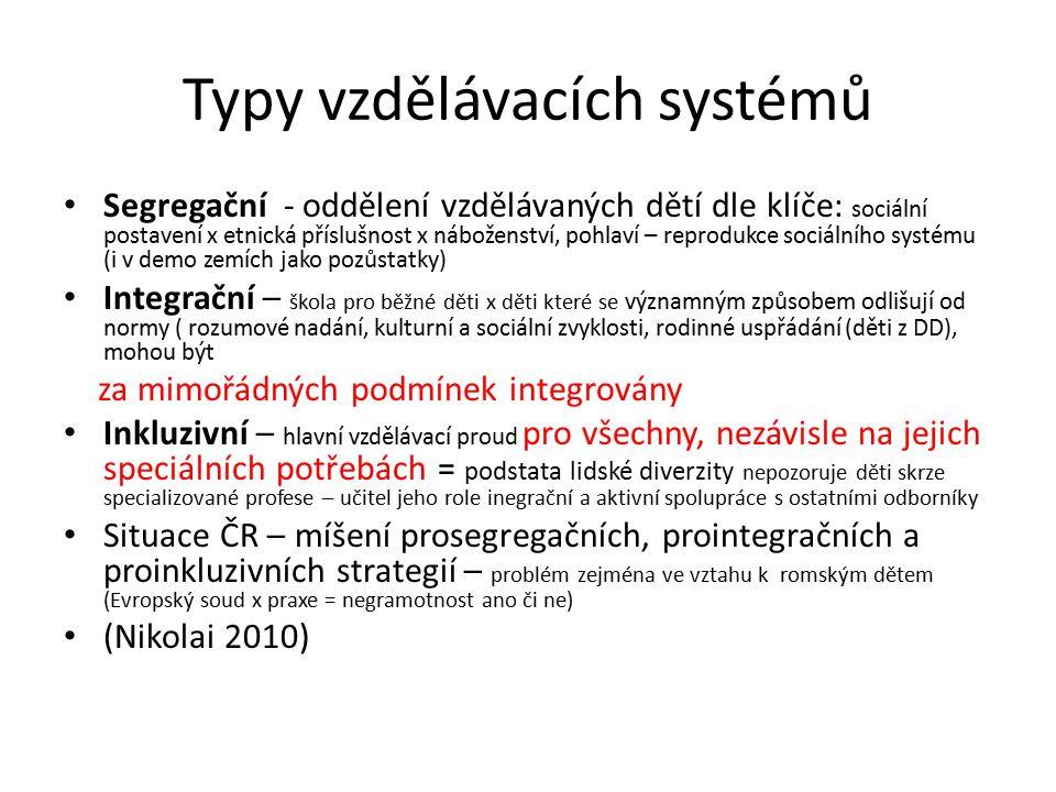 Typy vzdělávacích systémů Segregační - oddělení vzdělávaných dětí dle klíče: sociální postavení x etnická příslušnost x náboženství, pohlaví – reprodu