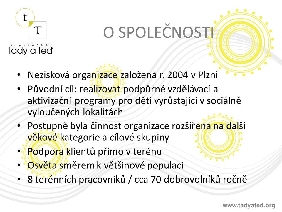 O SPOLEČNOSTI Nezisková organizace založená r. 2004 v Plzni Původní cíl: realizovat podpůrné vzdělávací a aktivizační programy pro děti vyrůstající v