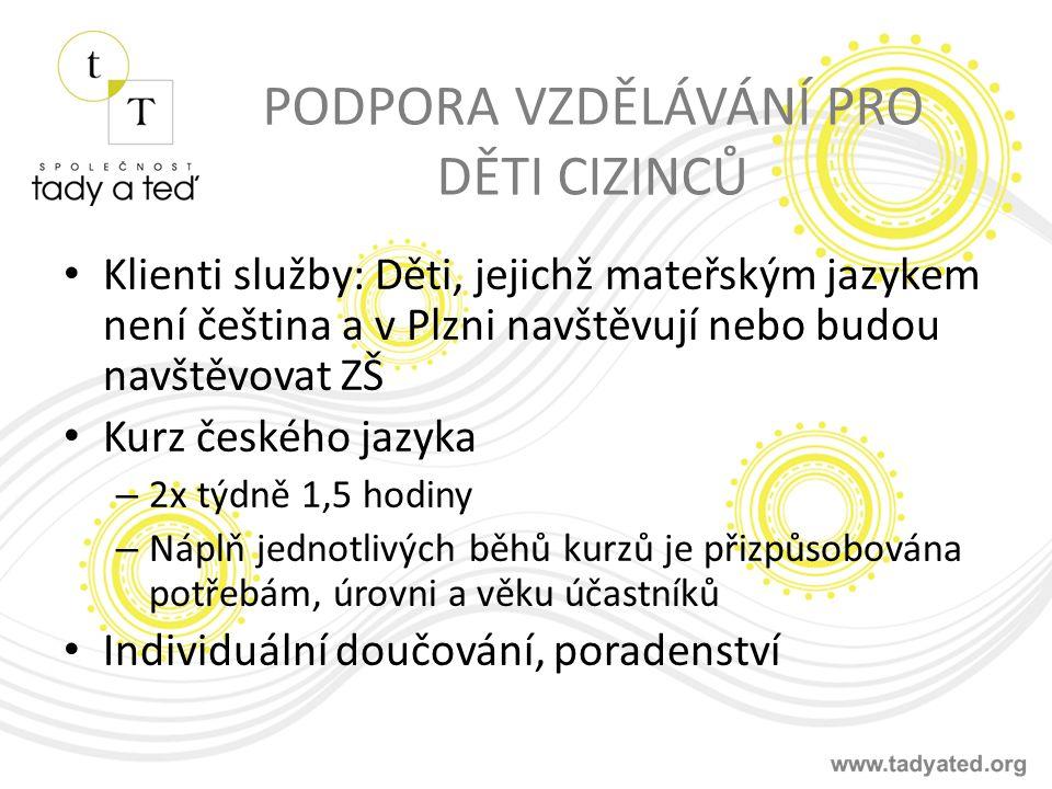 PODPORA VZDĚLÁVÁNÍ PRO DĚTI CIZINCŮ Klienti služby: Děti, jejichž mateřským jazykem není čeština a v Plzni navštěvují nebo budou navštěvovat ZŠ Kurz českého jazyka – 2x týdně 1,5 hodiny – Náplň jednotlivých běhů kurzů je přizpůsobována potřebám, úrovni a věku účastníků Individuální doučování, poradenství