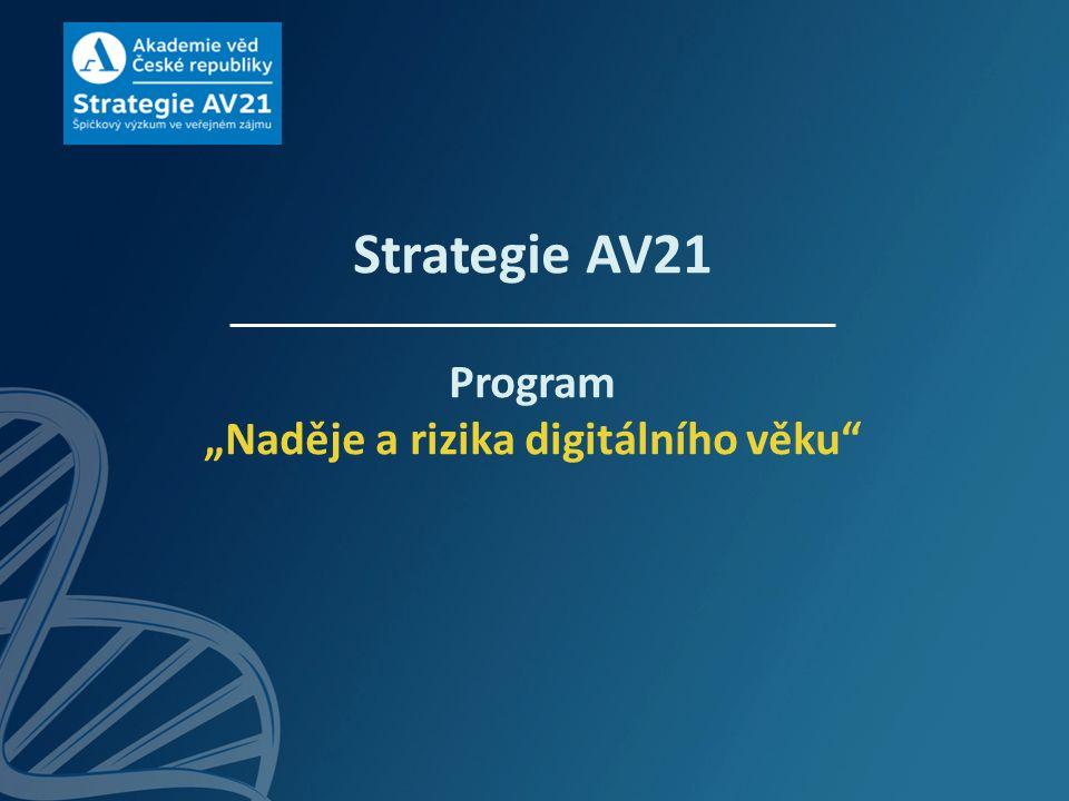"""Strategie AV21 Program """"Naděje a rizika digitálního věku"""