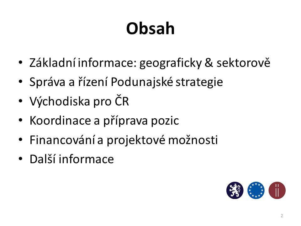 Obsah Základní informace: geograficky & sektorově Správa a řízení Podunajské strategie Východiska pro ČR Koordinace a příprava pozic Financování a pro