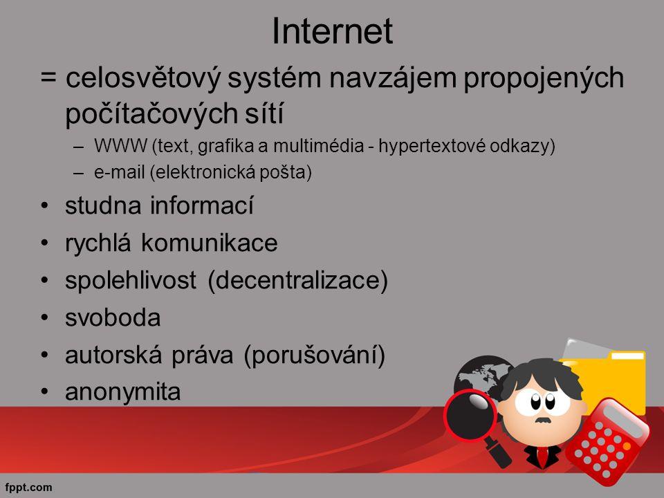 Internet = celosvětový systém navzájem propojených počítačových sítí –WWW (text, grafika a multimédia - hypertextové odkazy) –e-mail (elektronická pošta) studna informací rychlá komunikace spolehlivost (decentralizace) svoboda autorská práva (porušování) anonymita