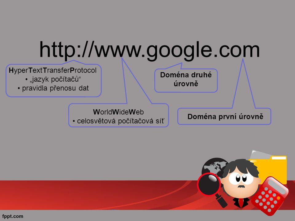 """http://www.google.com HyperTextTransferProtocol """"jazyk počítačů pravidla přenosu dat WorldWideWeb celosvětová počítačová síť Doména druhé úrovně Doména první úrovně"""