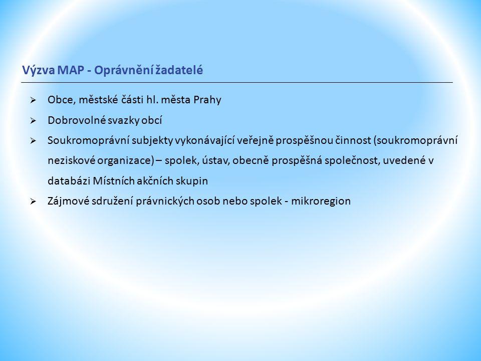 Výzva MAP - Oprávnění žadatelé  Obce, městské části hl.