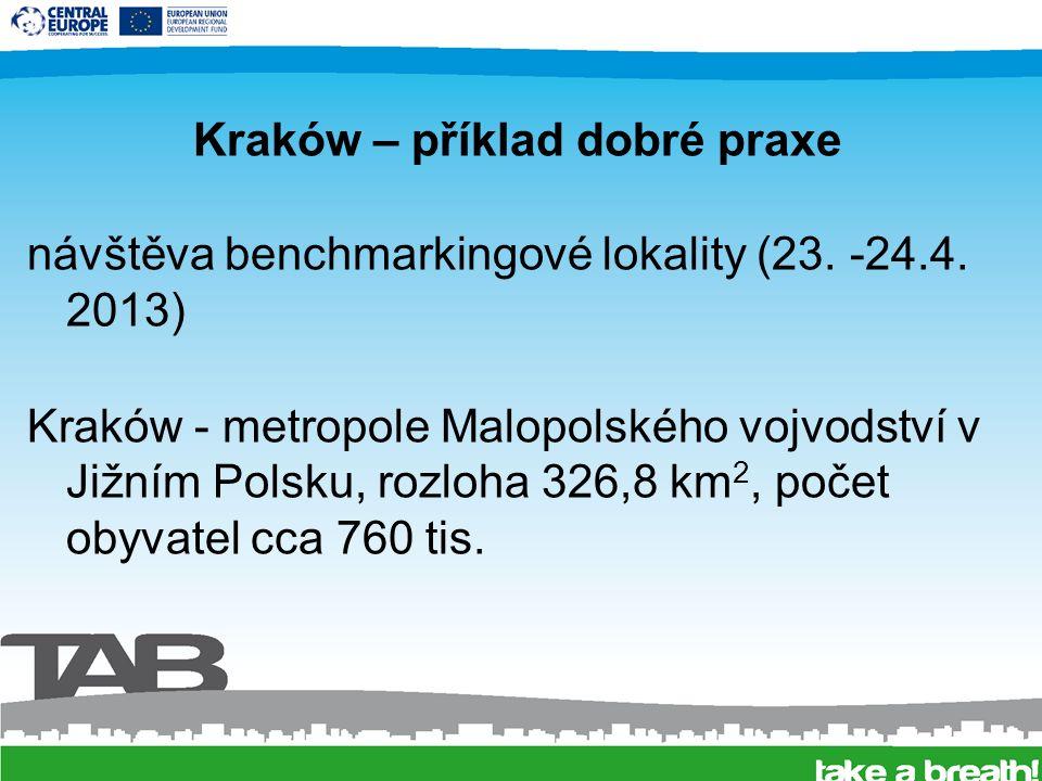 """Kraków – příklad dobré praxe –cyklostezky - celkem 125 km, v roce 2013 další 3 km –mokré čištění ulic - cca 740 km –parkovací zóny - omezení vstupu do centra –""""Telebus - méně osídlené lokality, místo pravidelné linky odvoz dle potřeby"""