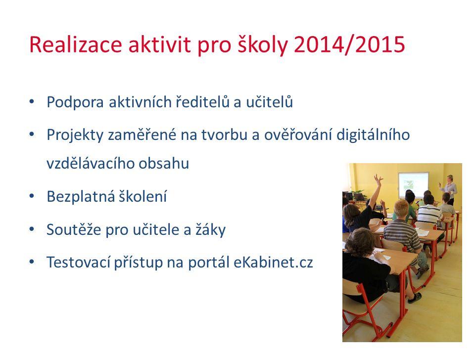Realizace aktivit pro školy 2014/2015 Podpora aktivních ředitelů a učitelů Projekty zaměřené na tvorbu a ověřování digitálního vzdělávacího obsahu Bezplatná školení Soutěže pro učitele a žáky Testovací přístup na portál eKabinet.cz