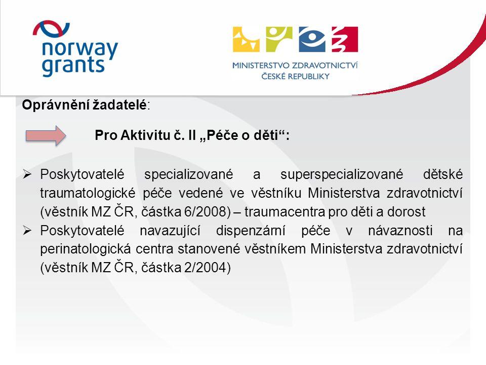 Oprávnění žadatelé: Pro Aktivitu č.