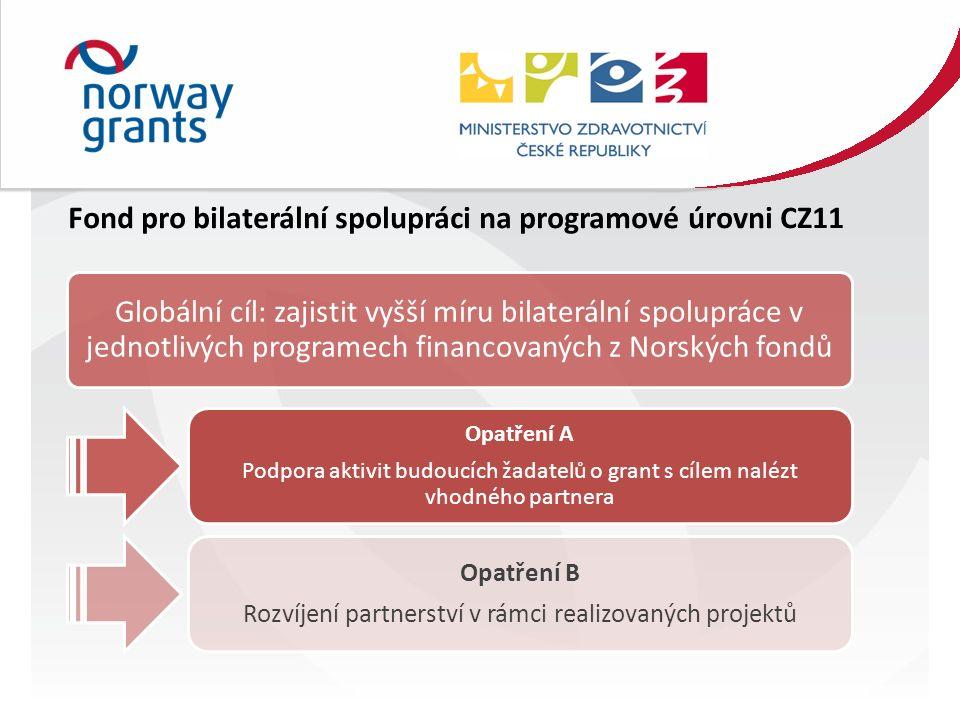 Fond pro bilaterální spolupráci na programové úrovni CZ11 Globální cíl: zajistit vyšší míru bilaterální spolupráce v jednotlivých programech financovaných z Norských fondů Opatření A Podpora aktivit budoucích žadatelů o grant s cílem nalézt vhodného partnera Opatření B Rozvíjení partnerství v rámci realizovaných projektů