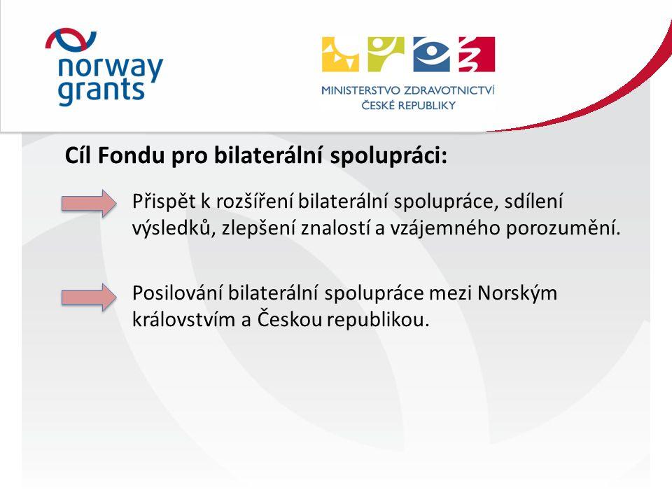 Cíl Fondu pro bilaterální spolupráci: Přispět k rozšíření bilaterální spolupráce, sdílení výsledků, zlepšení znalostí a vzájemného porozumění.