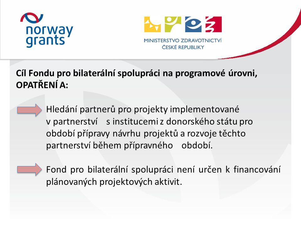 Cíl Fondu pro bilaterální spolupráci na programové úrovni, OPATŘENÍ A: Hledání partnerů pro projekty implementované v partnerství s institucemi z donorského státu pro období přípravy návrhu projektů a rozvoje těchto partnerství během přípravného období.