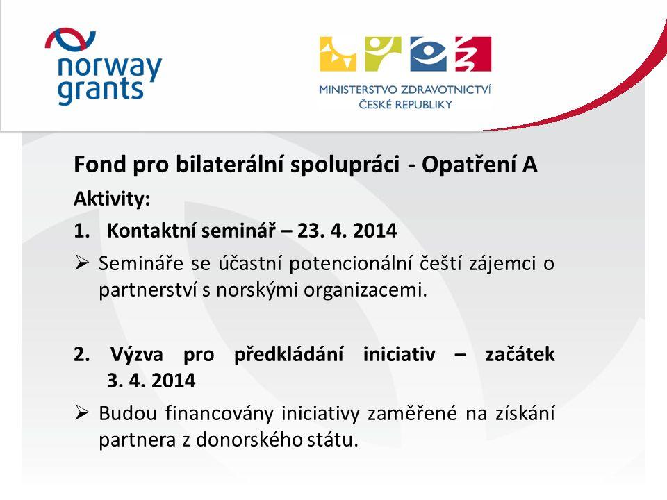 Fond pro bilaterální spolupráci - Opatření A Aktivity: 1.Kontaktní seminář – 23.