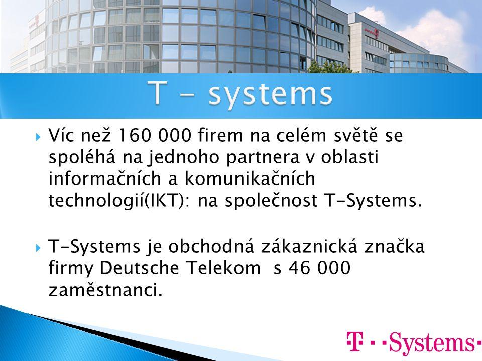  Víc než 160 000 firem na celém světě se spoléhá na jednoho partnera v oblasti informačních a komunikačních technologií(IKT): na společnost T-Systems.