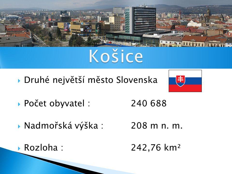 Druhé největší město Slovenska  Počet obyvatel : 240 688  Nadmořská výška : 208 m n.