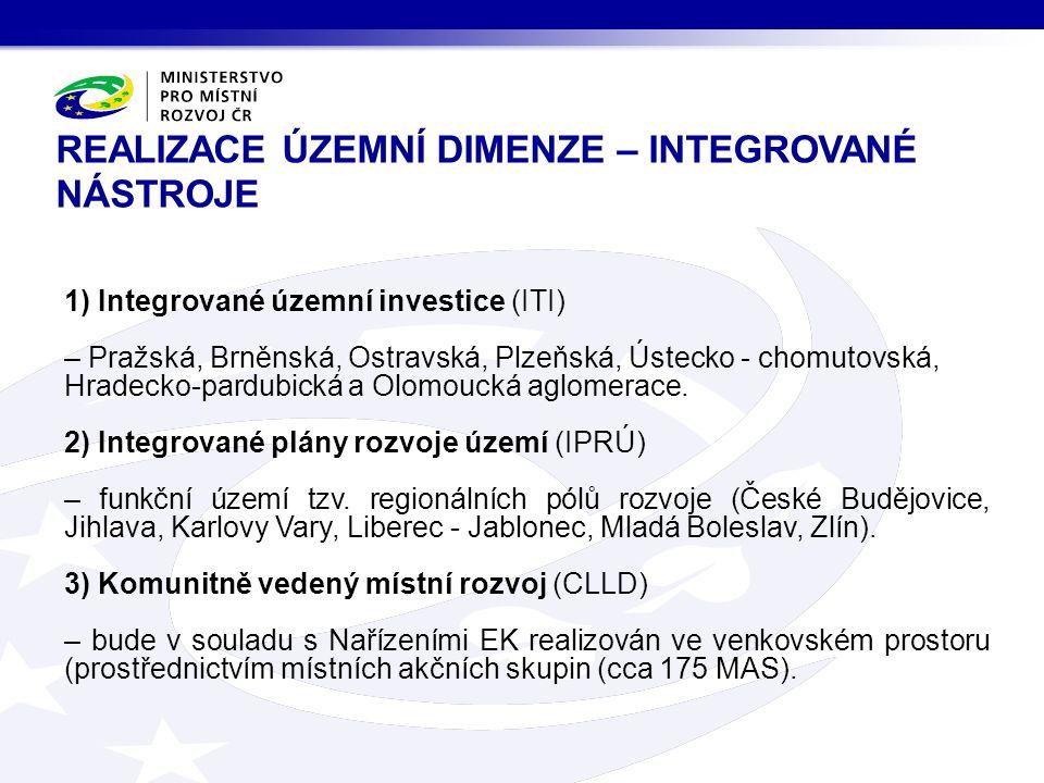 REALIZACE ÚZEMNÍ DIMENZE – INTEGROVANÉ NÁSTROJE 1) Integrované územní investice (ITI) – Pražská, Brněnská, Ostravská, Plzeňská, Ústecko - chomutovská, Hradecko-pardubická a Olomoucká aglomerace.