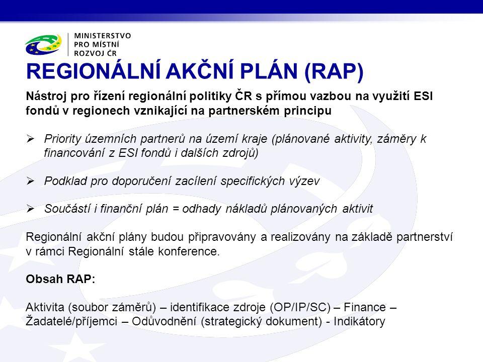Nástroj pro řízení regionální politiky ČR s přímou vazbou na využití ESI fondů v regionech vznikající na partnerském principu  Priority územních partnerů na území kraje (plánované aktivity, záměry k financování z ESI fondů i dalších zdrojů)  Podklad pro doporučení zacílení specifických výzev  Součástí i finanční plán = odhady nákladů plánovaných aktivit Regionální akční plány budou připravovány a realizovány na základě partnerství v rámci Regionální stále konference.