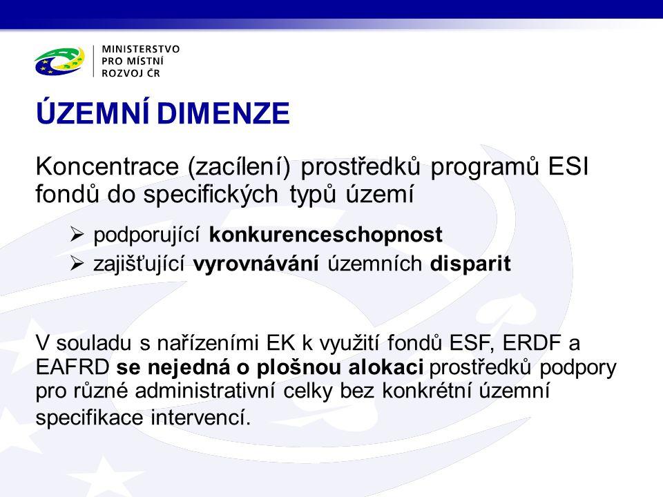 Koncentrace (zacílení) prostředků programů ESI fondů do specifických typů území  podporující konkurenceschopnost  zajišťující vyrovnávání územních disparit V souladu s nařízeními EK k využití fondů ESF, ERDF a EAFRD se nejedná o plošnou alokaci prostředků podpory pro různé administrativní celky bez konkrétní územní specifikace intervencí.