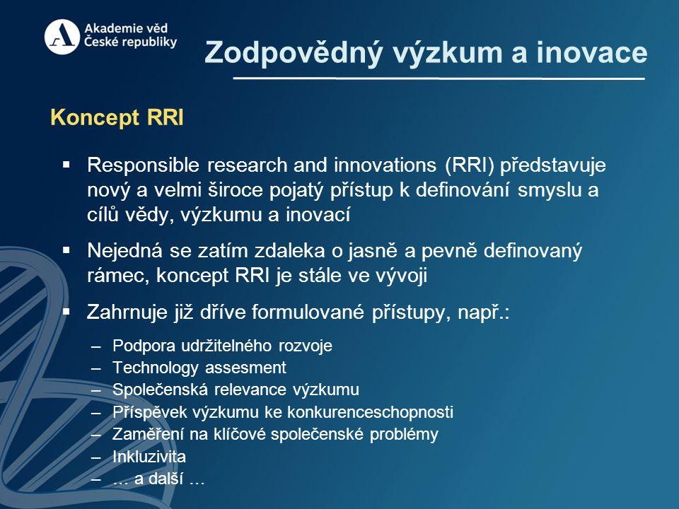 Zodpovědný výzkum a inovace Koncept RRI  Responsible research and innovations (RRI) představuje nový a velmi široce pojatý přístup k definování smyslu a cílů vědy, výzkumu a inovací  Nejedná se zatím zdaleka o jasně a pevně definovaný rámec, koncept RRI je stále ve vývoji  Zahrnuje již dříve formulované přístupy, např.: –Podpora udržitelného rozvoje –Technology assesment –Společenská relevance výzkumu –Příspěvek výzkumu ke konkurenceschopnosti –Zaměření na klíčové společenské problémy –Inkluzivita –… a další …