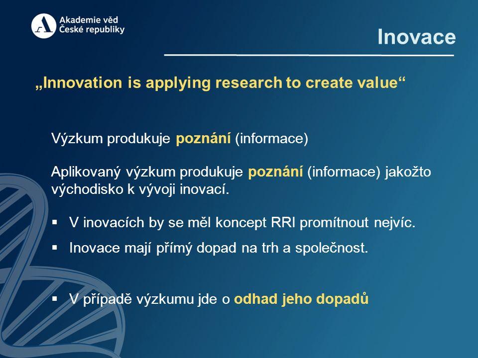 """Inovace """"Innovation is applying research to create value Výzkum produkuje poznání (informace) Aplikovaný výzkum produkuje poznání (informace) jakožto východisko k vývoji inovací."""