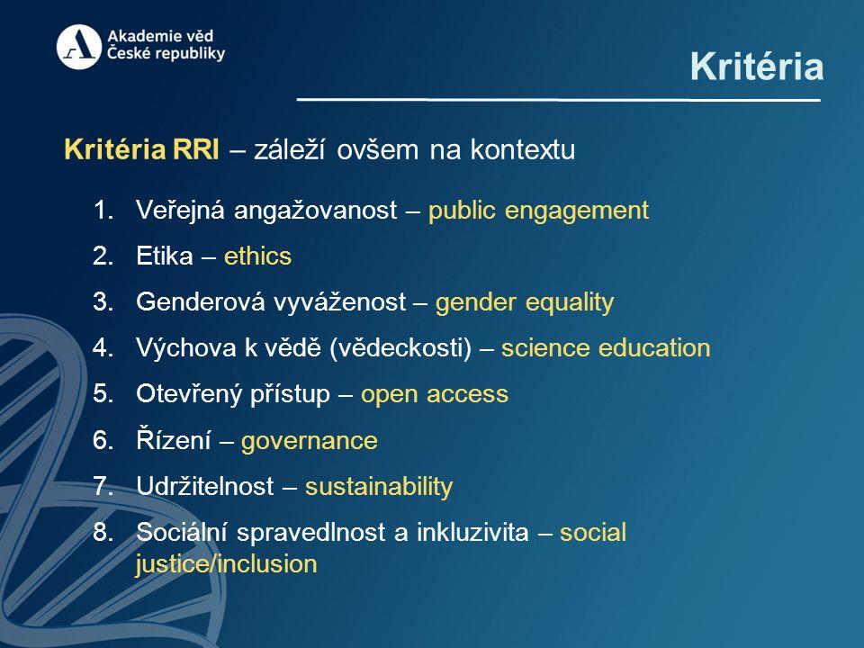 Kritéria Kritéria RRI – záleží ovšem na kontextu 1.Veřejná angažovanost – public engagement 2.Etika – ethics 3.Genderová vyváženost – gender equality 4.Výchova k vědě (vědeckosti) – science education 5.Otevřený přístup – open access 6.Řízení – governance 7.Udržitelnost – sustainability 8.Sociální spravedlnost a inkluzivita – social justice/inclusion