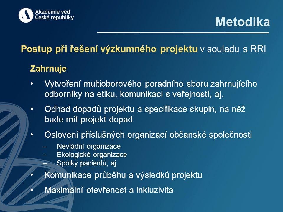 Metodika Postup při řešení výzkumného projektu v souladu s RRI Zahrnuje Vytvoření multioborového poradního sboru zahrnujícího odborníky na etiku, komunikaci s veřejností, aj.