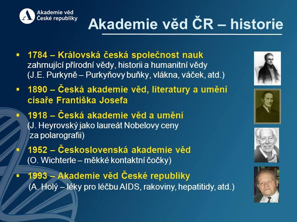 Akademie věd ČR – historie  1784 – Královská česká společnost nauk zahrnující přírodní vědy, historii a humanitní vědy (J.E.