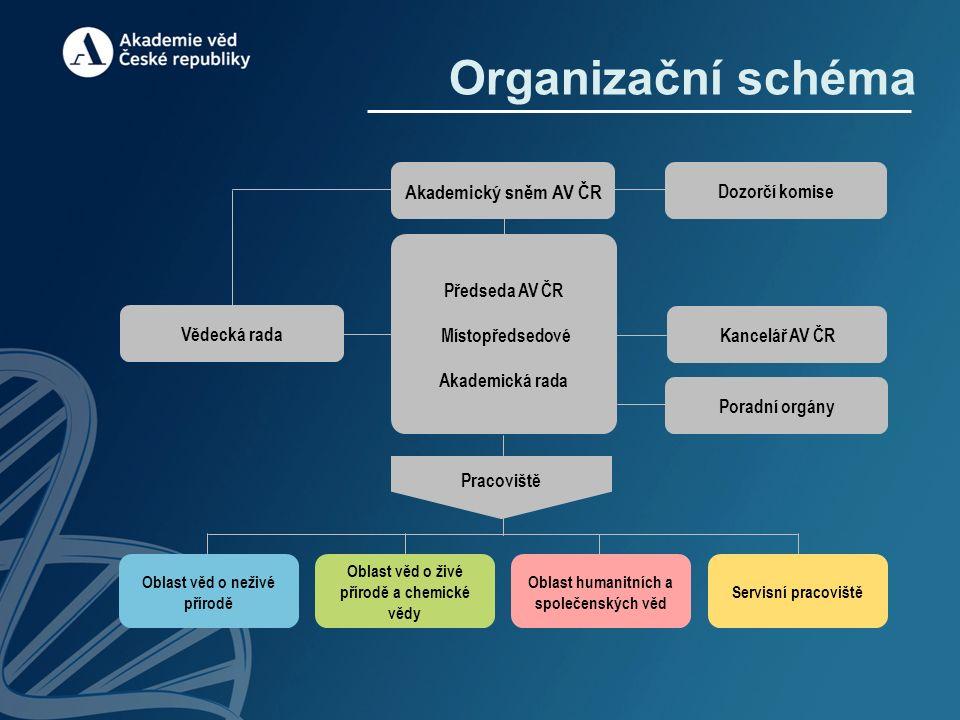Organizační schéma Oblast věd o neživé přírodě Oblast věd o živé přírodě a chemické vědy Oblast humanitních a společenských věd Servisní pracoviště Vě