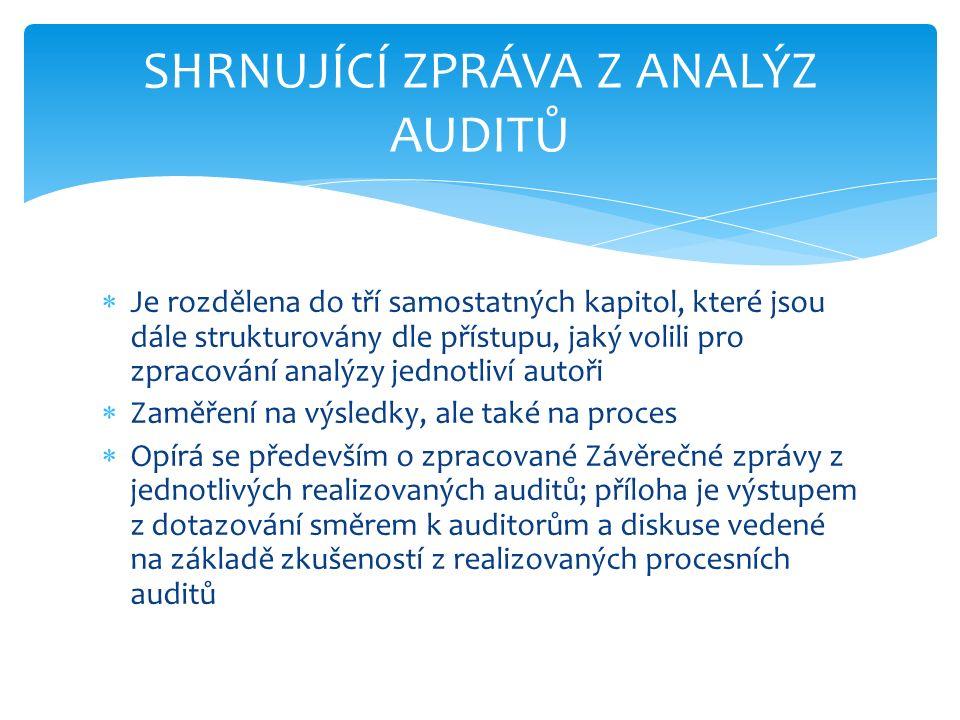  Je rozdělena do tří samostatných kapitol, které jsou dále strukturovány dle přístupu, jaký volili pro zpracování analýzy jednotliví autoři  Zaměření na výsledky, ale také na proces  Opírá se především o zpracované Závěrečné zprávy z jednotlivých realizovaných auditů; příloha je výstupem z dotazování směrem k auditorům a diskuse vedené na základě zkušeností z realizovaných procesních auditů SHRNUJÍCÍ ZPRÁVA Z ANALÝZ AUDITŮ