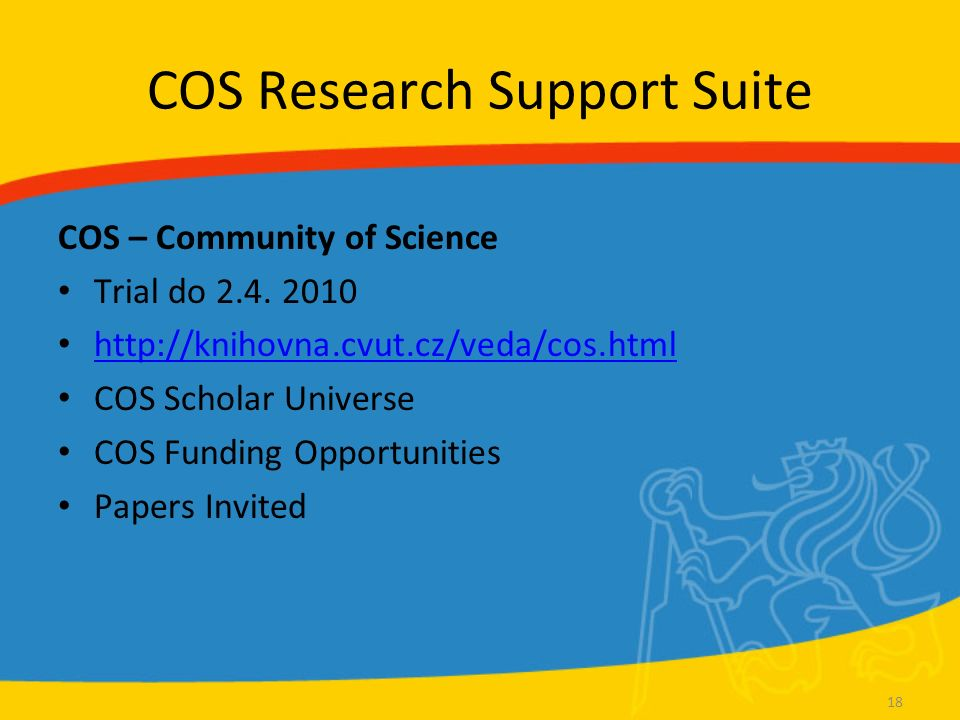 COS Research Support Suite COS – Community of Science Trial do 2.4.