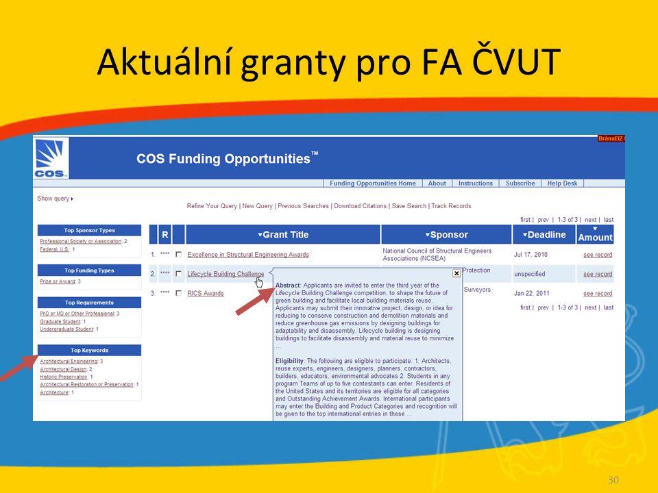 Aktuální granty pro FA ČVUT 30