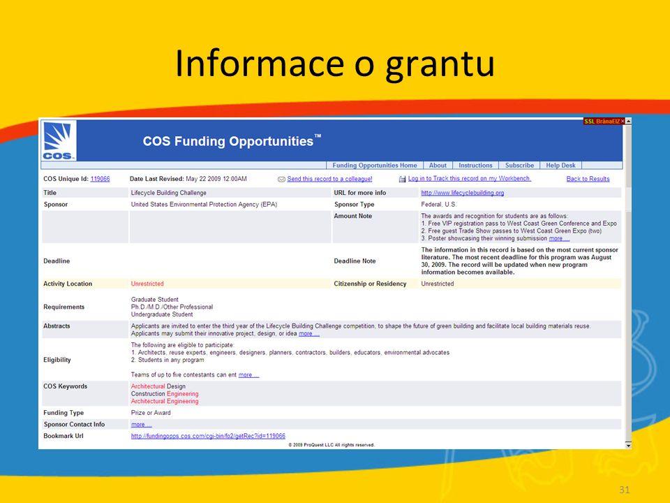 Informace o grantu 31