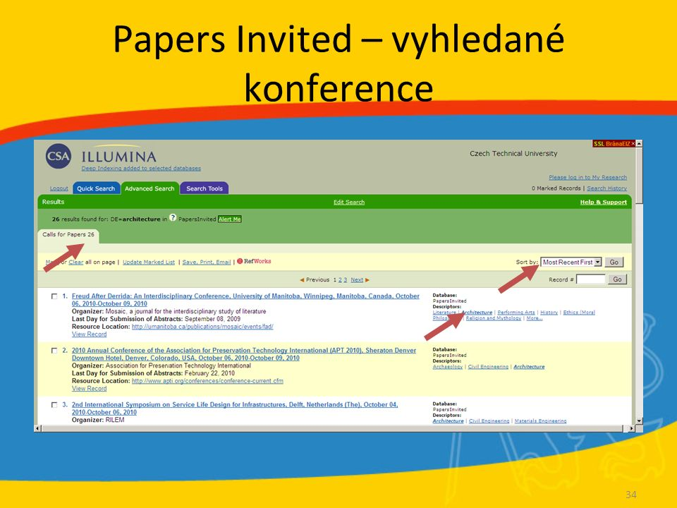 Papers Invited – vyhledané konference 34