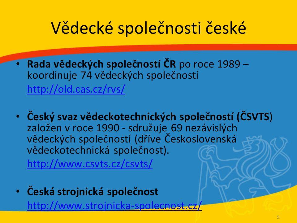 Vědecké společnosti české Rada vědeckých společností ČR po roce 1989 – koordinuje 74 vědeckých společností http://old.cas.cz/rvs/ Český svaz vědeckote