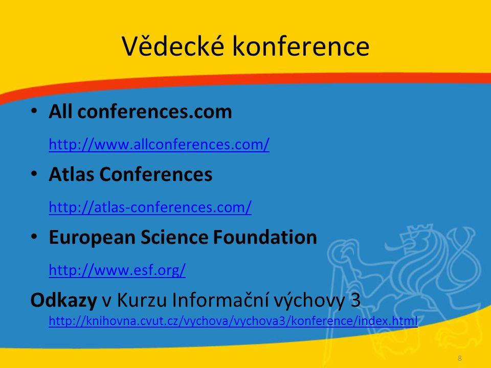 Vědecké konference All conferences.com http://www.allconferences.com/ Atlas Conferences http://atlas-conferences.com/ European Science Foundation http