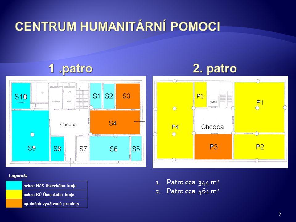 5 sekce HZS Ústeckého kraje sekce KÚ Ústeckého kraje společně využívané prostory Legenda 1.Patro cca 344 m 2 2.Patro cca 461 m 2