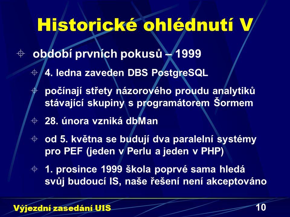 10 Historické ohlédnutí V  období prvních pokusů – 1999  4. ledna zaveden DBS PostgreSQL  počínají střety názorového proudu analytiků stávající sku